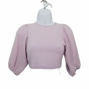 January 7 Ribbed Puff Sleeve Lace Back Crop Top